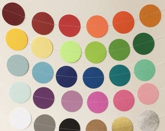 30 Color Choices - Paper Circle Garland 7ft