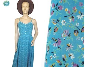 Betty Barclay Summer Maxi Dress, 80s Floral Print Cotton Dress, Vintage Boho Sleeveless Spaghetti Straps Ruffle Dress, Size Small