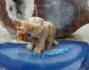 SALE! Small Triceratops Dinosaur Soapstone Carving, Figurine