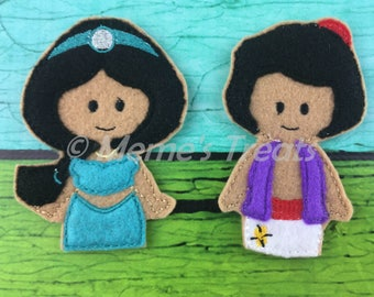 Jasmine & Aladdin - Set of 2 Finger Puppets Inspired by Aladdin