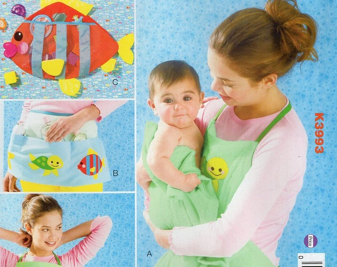 Free Us Ship Sewing Pattern Kwik Sew 3993 Baby Apron Organizer Toy Holder Fish Turtle Applique Babies Out of Print 2014