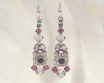 Swarovski amethyst crystal and silver earrings