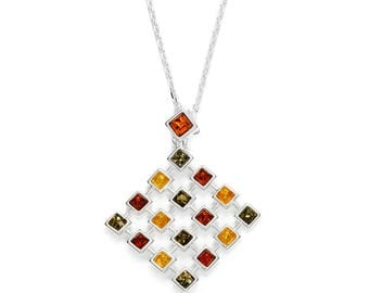 Necklace in amber multicolor on silver 925