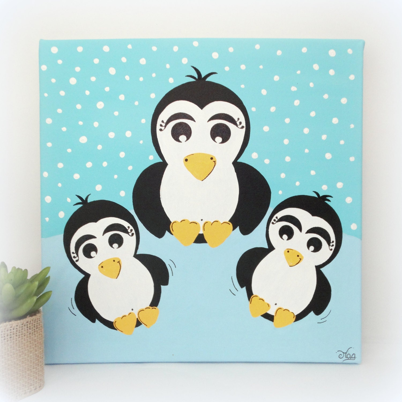 Tableau chambre bébé gar§on décoration pingouin Tableau
