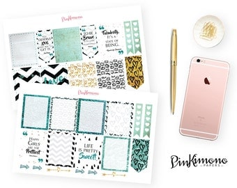 Love Is In The Air Weekly Planner Sticker Kit with Clip - Teal | 100 Stickers
