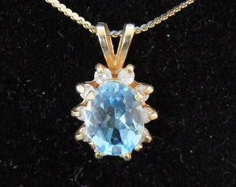 14K Solid Yellow Gold Genuine Blue Topaz Diamonds Pendant 2.3 Grams December Birthstone New Old Stock