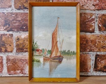 Vintage small watercolor watercolour painting of sail boat framed