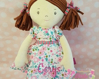 Personalised beautiful rag doll. perfect gift for birthdays, wedding gifts, flower girls etc