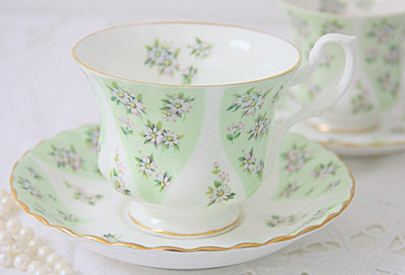 Set of Two Vintage Royal Albert Bone China 'Charm' Cup and Saucers from the Debutante Series, Lady and Gentleman Size, England