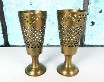 PAIR Vintage Brass Candle Holders Votives Cut Out Pattern Trellis Pattern Made in India Mid Century Brass MCM Brass Decor Set Gold Decor