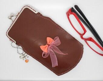 glasses case retro fashion mahogany leather and bow tie