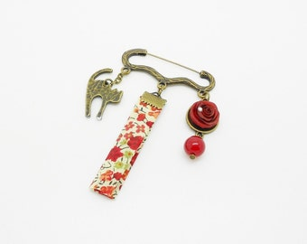 """brooch """"rose"""" red, cat and liberty bias on support PIN"""