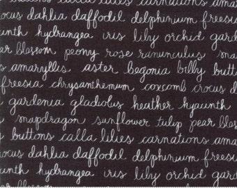 Olive's Flower Market - Flower Script Black - Sold by the Half Yard