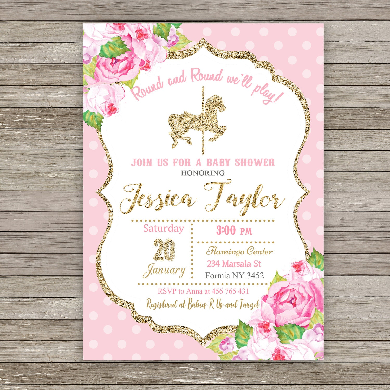 10 OFF Printed or Digital Carousel Baby Shower Invitation – Carousel Party Invitations