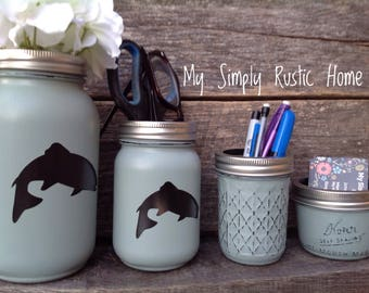 Fish Mason Jar Desk Set-Desk Set-Mason Jar Office-Desk Organizer-Desk Set-Mason Jar Office Set-Office Set-Desk Decor- Desk Set-cabin decor-