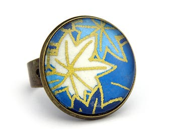 Japanese jewelry with leafs - Japanese spirit - Adjustable ring - Only one copy made - Made in France - Free shipping