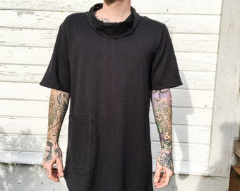Black cowl neck shirt - Handmade black shirt - Dark fashion shirt