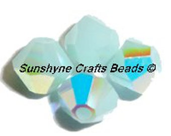 Swarovski Crystal Beads 25 Pcs 5328 MINT ALABASTER AB 4MM Xilion Faceted Bicone Bead