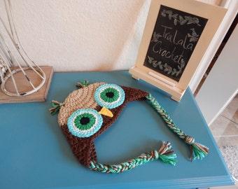 Owl Beanie- Multi-color crochet Beanie