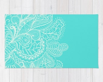 turquoise area rug mehndi henna paisley shabby chic design pattern boho bohemian green woven rug home - Turquoise Area Rug