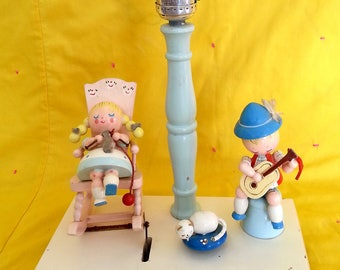 """Vintage Irmi Animated Musical Lamp. Children's Storybook Wooden Lamp by Plastics, Inc. Nursery Lamp. Plays """"Rock-A-Bye Baby."""""""