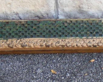 Antique Panels Hand Carved Indian Wood Door Header Checkerboard