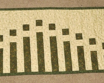 Green Wavy Stripes Quilted Table Runner