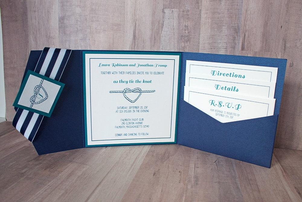 Nautical Wedding Invitation, Custom Wedding Invitation, Nautical Suite,  Tying The Knot