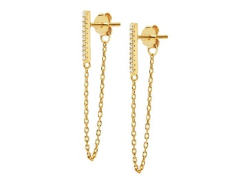 bar CHAIN earrings CZ - dainty chain earrings - gold bar earrings with chain - silver versatile threader chain earrings