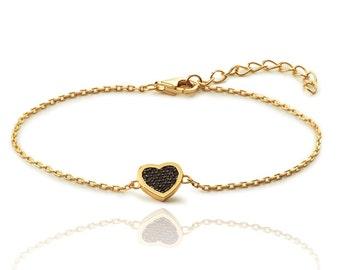 heart bracelet - heart chain bracelet - cz heart chain bracelet - Heart CZ chain bracelet - black cz chain bracelet - love bracelet