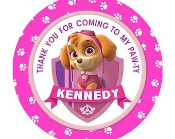 Pink Paw Patrol Round stickers birthday label - printable