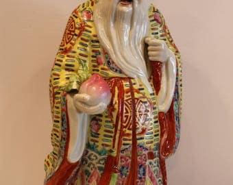 Chinese Porcelain - Famille Rose Shou Lao - Buddha - Asian God of Longevity - Chinese Statue - Free Shipping Within Canada and USA