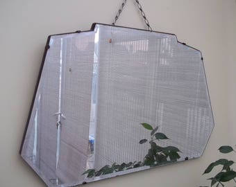 Vintage Bevelled Edge Mirror with Chain