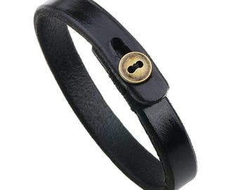Father's Day gift, mens gift, mens leather bracelet, womens leather bracelet, braided leather, black leather, mens bracelet leather