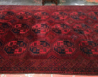 Gorgeous Old Afghan Ersari Rug 7'3x10'8 Rich Burgundy Blue Green c.1930