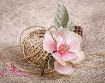 Magnolia Silk Flower Corsage Boutonniere, romantic pink silk brooch Magnolia, wedding flower headpiece hat accessories, Birthday gift. NB