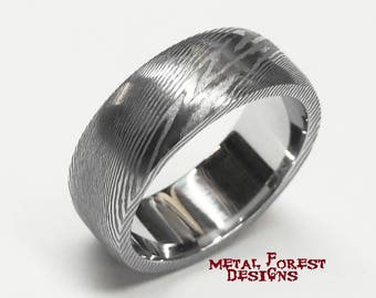 stainless damascus steel ring with polished inside stainless steel wedding band wedding ring - Damascus Wedding Ring