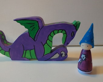 Wizard and Dragon Peg Doll Play Set