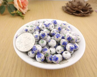 50 x Blue floral ceramic beads 10mm