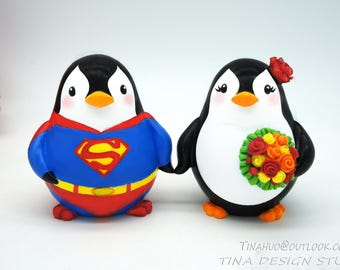 Superman Wedding Cake Toppers-Superhero Wedding Cake Toppers-Penguin Wedding Cake Topper With Red Roses Bouquet