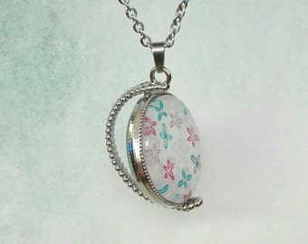 Pink bottlecap necklace with illustration girl in candy house, ribbon and roses