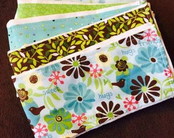Set of Cloth Diaper Burp Cloths, Sweet Girl, set of five (5), Flower Baby Gift