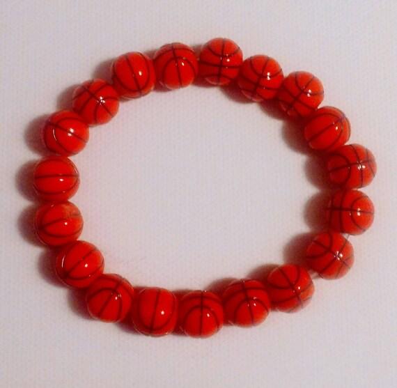 Basketball Charm Bracelet: Basketball Bracelet. Men's Jewelry. Stretch Bracelet