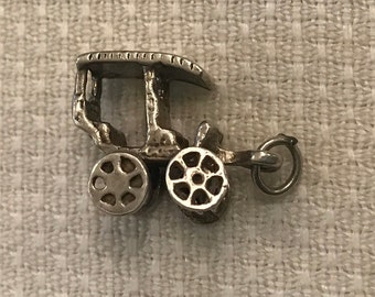 FREE SHIPPING-Vintage-1960's-Sterling-Charm-Movable-Wheels-Carriage-Buggy-