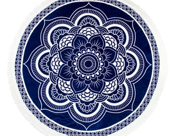 Navy and white roundie, round beach towel, mandala towel, beach towel, throw blanket