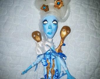 Sale*Ooak doll siamese skeleton doll, handmade ,artdoll, gothic doll, clay doll, strange doll,