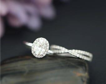 Perfect Moissanite Bridal Ring Set 1ct Oval Moissanite Ring Set Solid 14K White Gold Ring Set Engagement Ring Set Wedding Ring Set