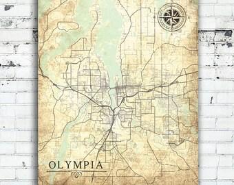 OLYMPIA WA Canvas Print Washington state Vintage map Olympia Wa City Vintage map Wall Art poste antique oversized large vintage old gift map