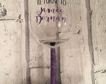 Glitter wine glass, jamie Dornan, 50 shades of grey gift, present, birthday