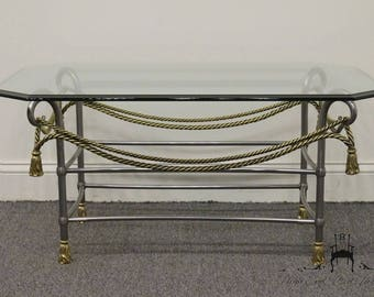 Labarge Neoclassical Rope Design Brass And Pewter 36 Coffee Table